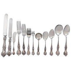 Majestic by Alvin Sterling Silver Flatware Set for 12 Dinner Service 167 Pieces