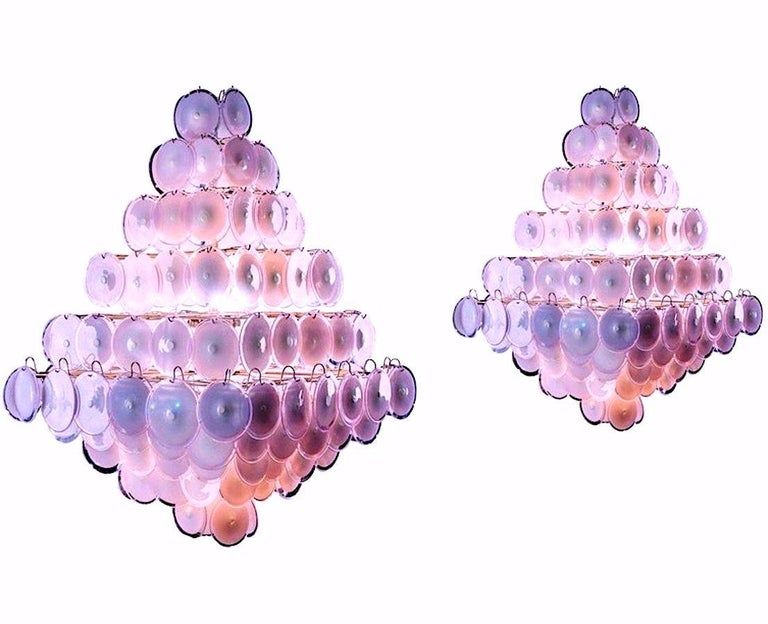 Majestic Chandelier Amethyst or Pink Murano Glass Discs by Gino Vistosi, 1970s For Sale 10
