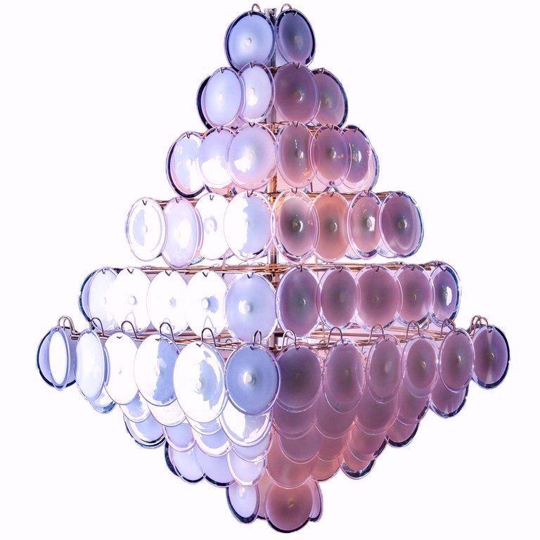 Majestic Chandelier Amethyst or Pink Murano Glass Discs by Gino Vistosi, 1970s For Sale 11