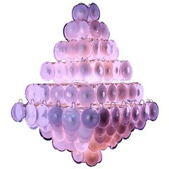 Majestic Chandelier Amethyst or Pink Murano Glass Discs by Gino Vistosi, 1970s