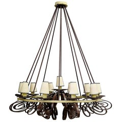 Majestic Chandelier Midcentury French in Forged Iron, 1950s