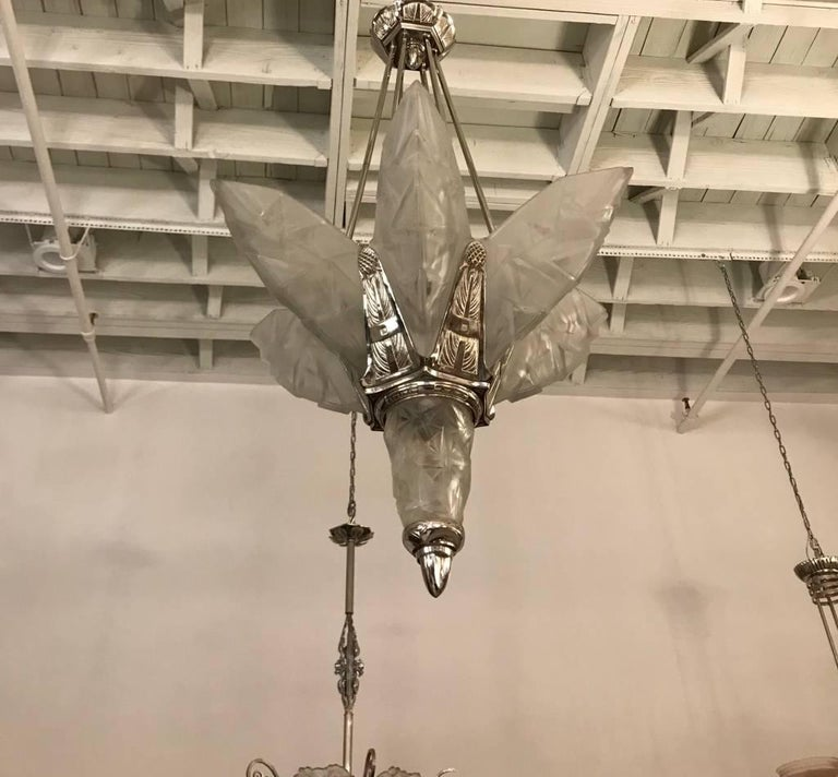 French Art Deco Chandelier Signed by Degue For Sale 6