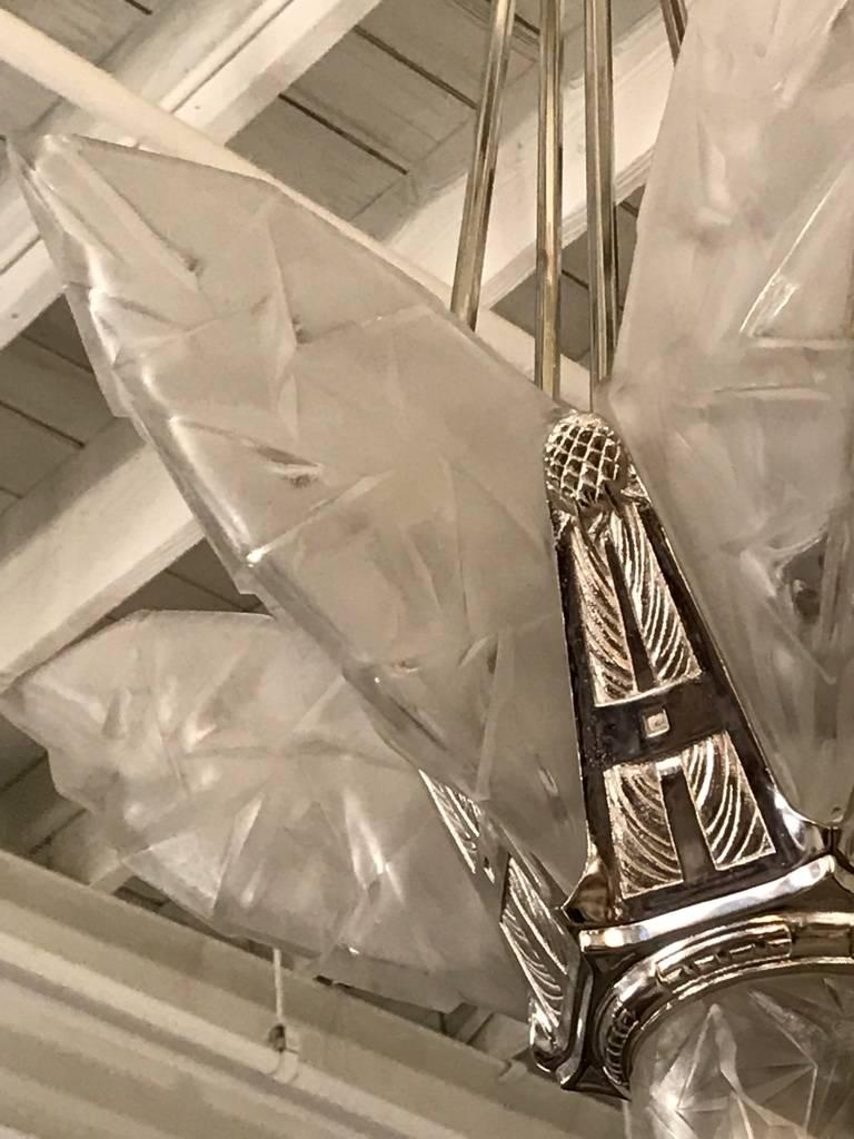 20th Century French Art Deco Chandelier Signed by Degue For Sale