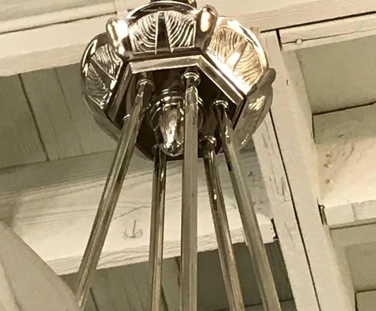 French Art Deco Chandelier Signed by Degue For Sale 4