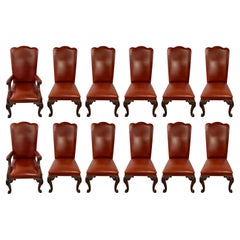 Majestic French Louis XVI Style Custom Leather Dining Chairs, A Set of 12