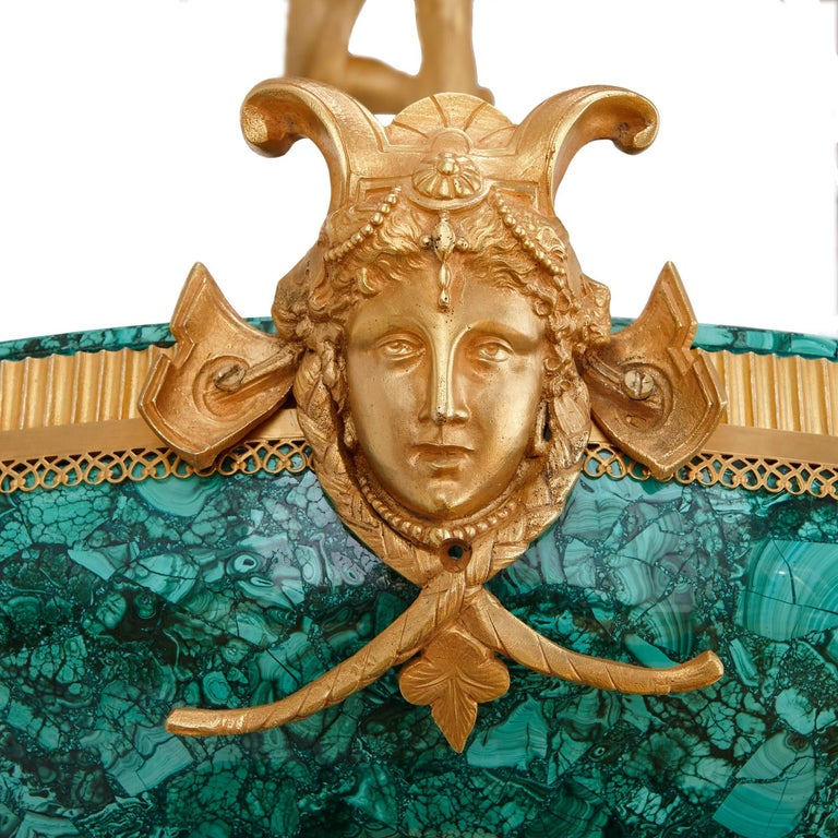 Majestic Gilt Bronze and Malachite Fountain, with Figure of Mercury In Excellent Condition For Sale In London, GB