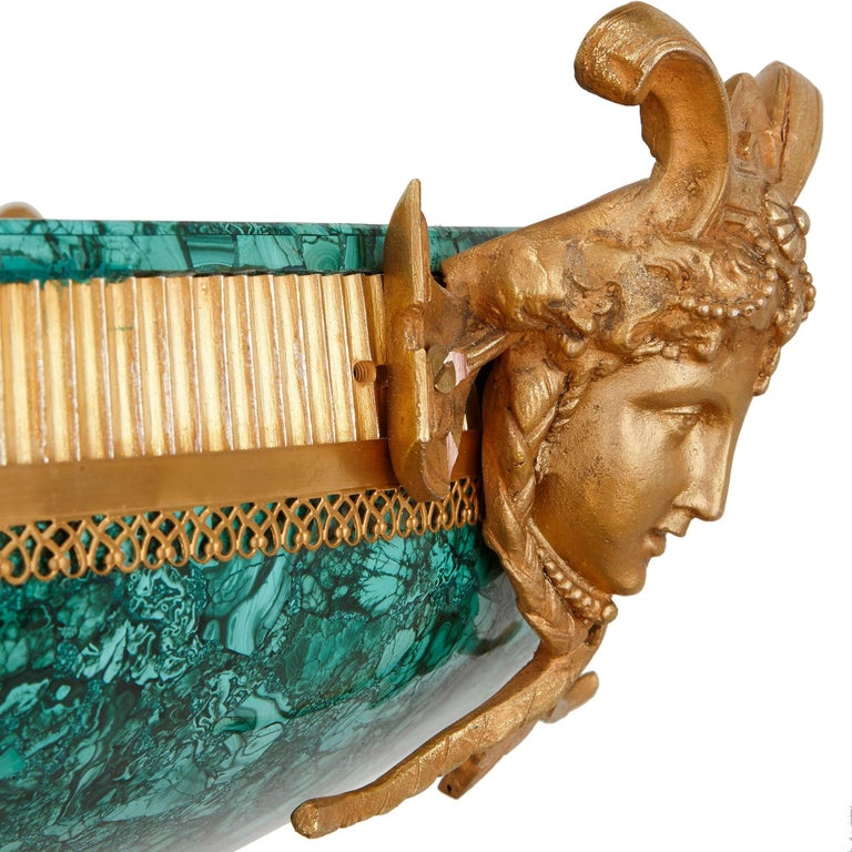 19th Century Majestic Gilt Bronze and Malachite Fountain, with Figure of Mercury For Sale