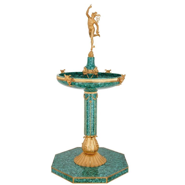 Majestic Gilt Bronze and Malachite Fountain, with Figure of Mercury