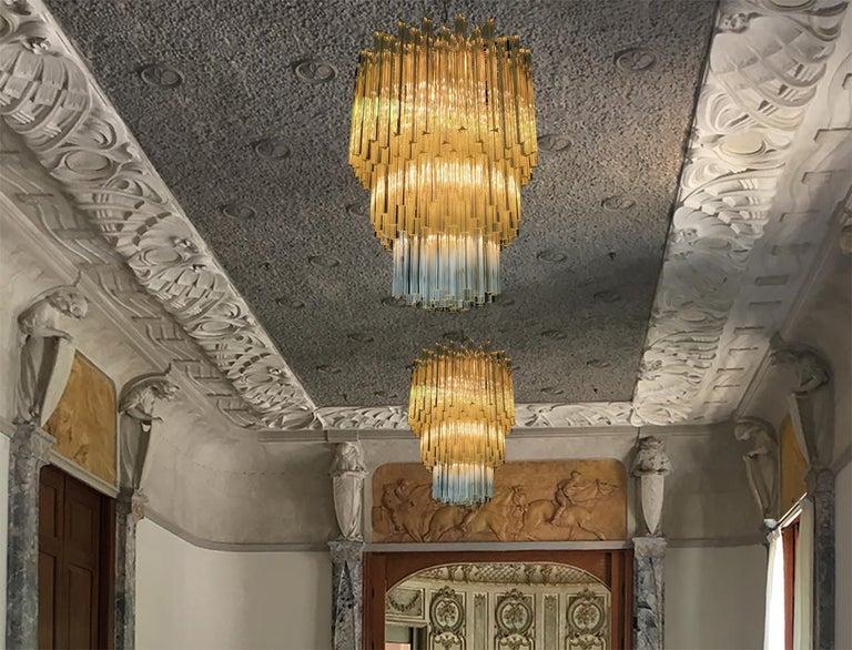 Majestic Italian Pair of Triedri Chandeliers, 184 Prism, Murano For Sale 2