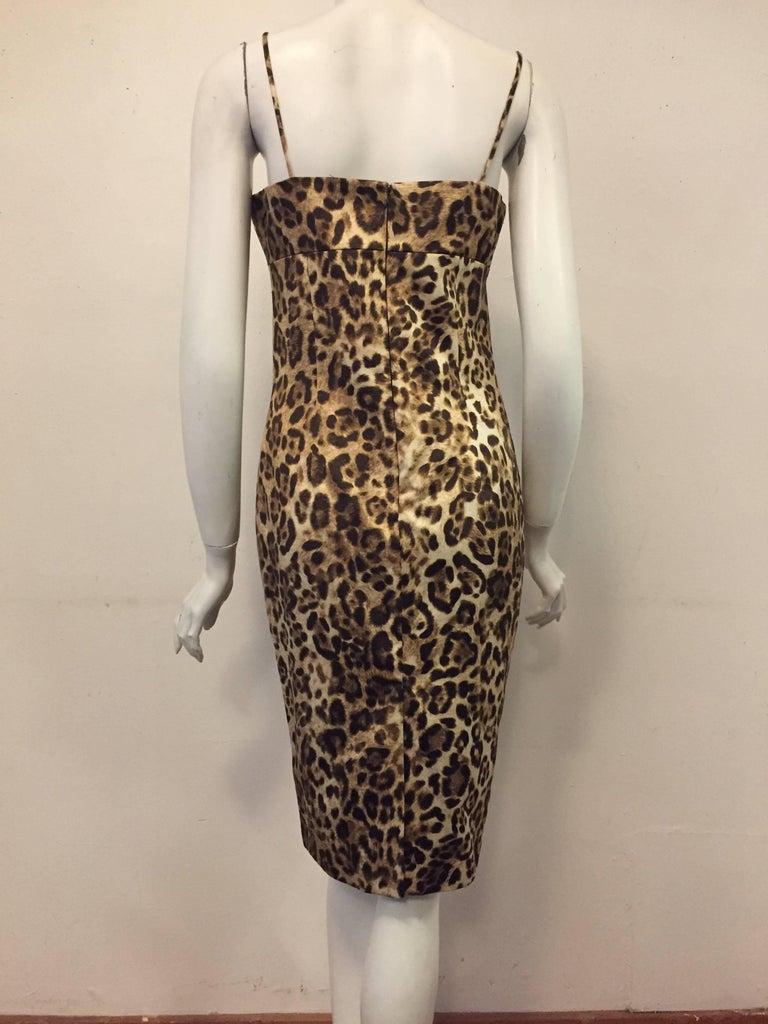 Brown Majestic Michael Kors Wild Cat Print cotton blend dress For Sale