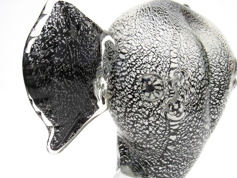 Majestic Murano Art Glass Elephant Head Sculpture For Sale 1