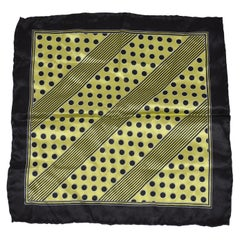 Majestic Olive Green & Black Polka Dots and Stripes Silk Handkerchief