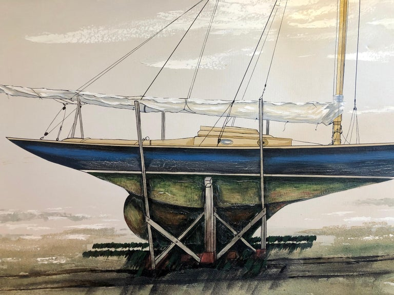 Mid-Century Modern Majestic Original X-Large Sailboat Painting by Lee Reynolds For Sale