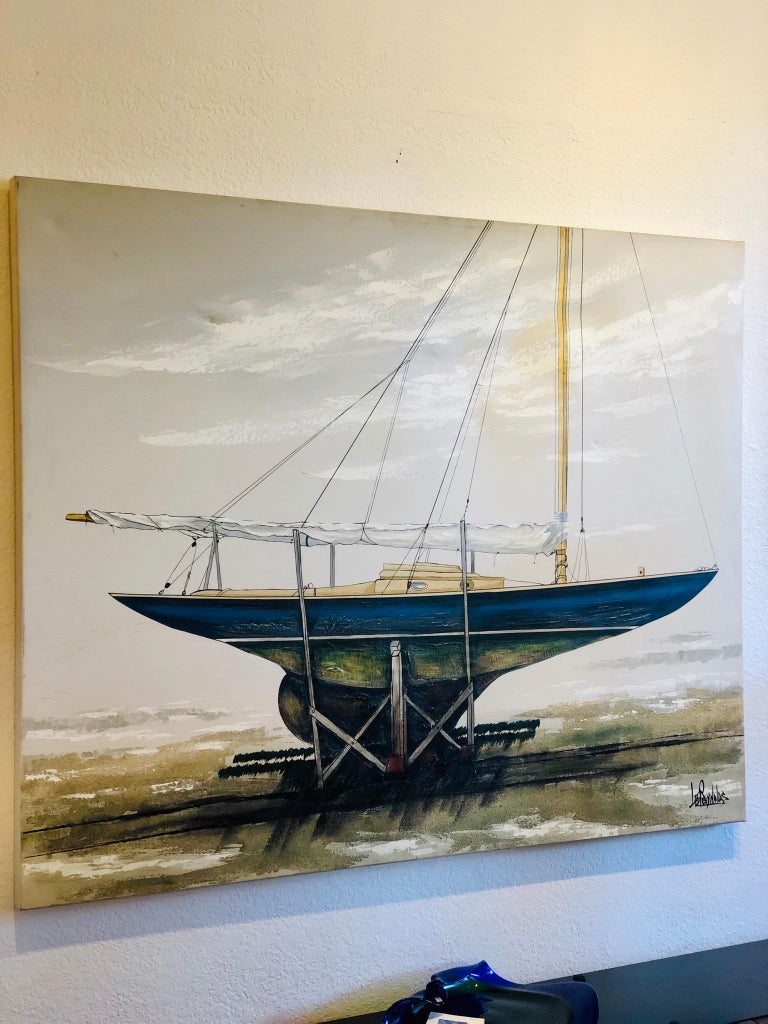 Majestic Original X-Large Sailboat Painting by Lee Reynolds In Good Condition For Sale In San Diego, CA