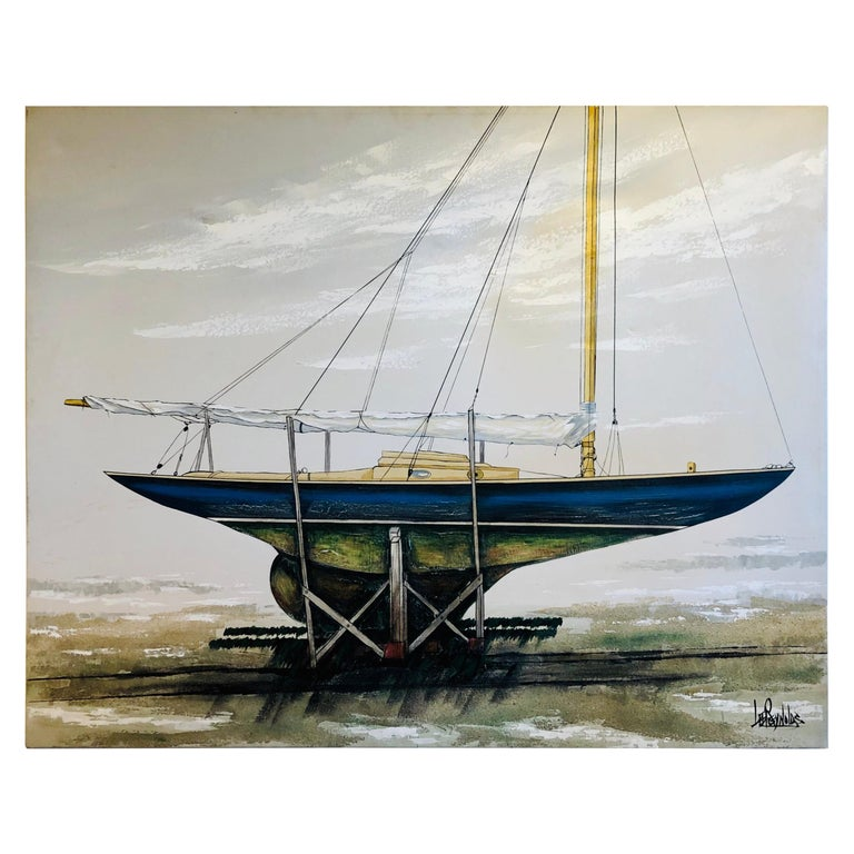 Majestic Original X-Large Sailboat Painting by Lee Reynolds For Sale