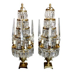 20th Century Majestic Pair of Crystal and Bronze  Girandoles