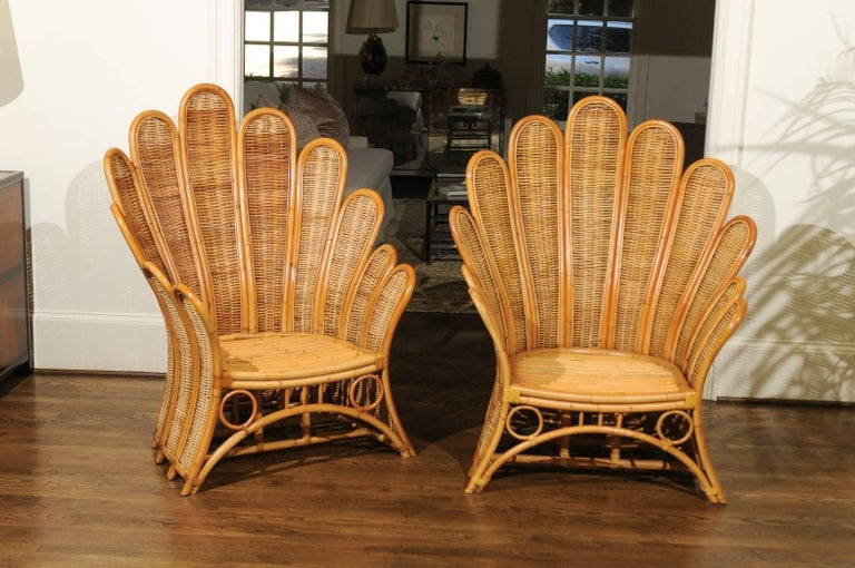 Majestic Restored Pair Of Vintage Rattan And Wicker Palm