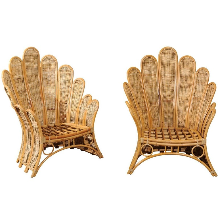 Majestic Restored Pair of Vintage Rattan and Wicker Palm Frond Club Chairs