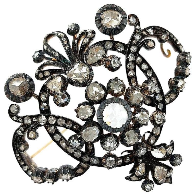 Pin Brooch Antique Georgian diamonds 14 kt gold 1800/'s Tie pin Blue glass to simulate sapphire silver rose cut diamonds