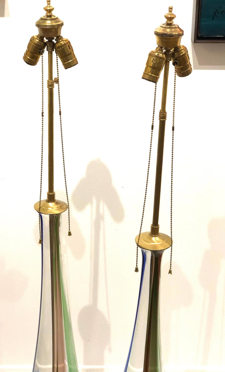 Hollywood Regency Majestic Tall Pair of Murano Striped Table Lamps by Venini For Sale