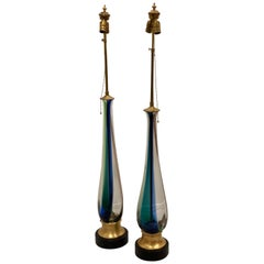 Majestic Tall Pair of Murano Striped Table Lamps by Venini