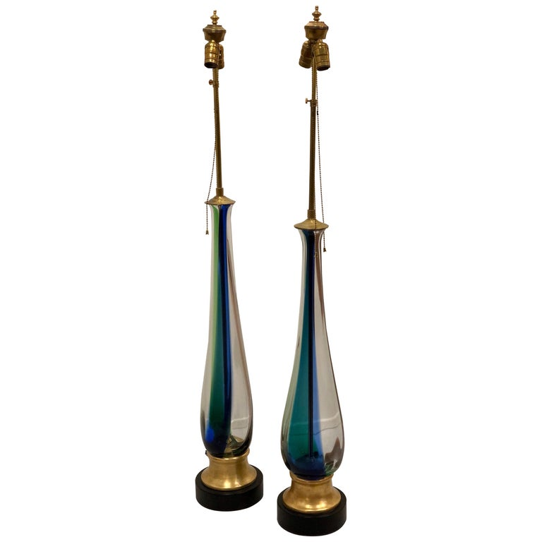 Majestic Tall Pair of Murano Striped Table Lamps by Venini For Sale