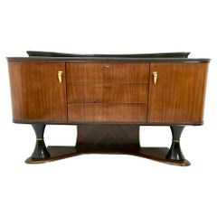 Majestic Turned Ebonized Wood and Wood Cabinet, Italy, 1950s