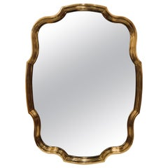 Majestic Unique Solid Scalloped Brass Wall Mirror by Baker