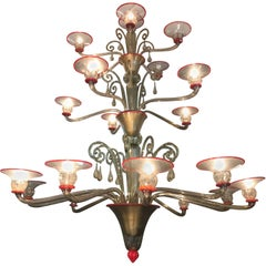 Majestic Venini Murano Glass Chandelier by Napoleone Martinuzzi, 1930