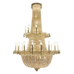 "Majestic Very Large Schonbek ""Camelot"" 86 Light Crystal Gem Cut Chandelier"