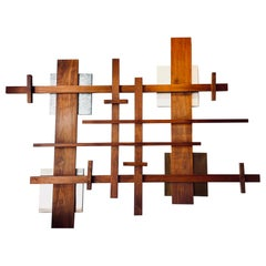 Majestic X Large Solid Walnut Abstract Geometric Wall Sculpture