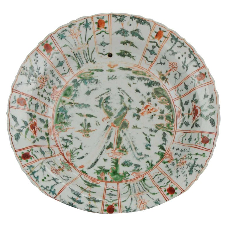 Majestic Zhangzhou Swatow Charger Ko Akae Verte China Ming Dynasty For Sale