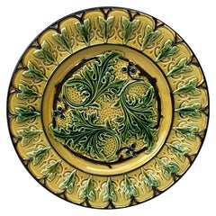 Majolica Acanthus Leaves Plate, circa 1880