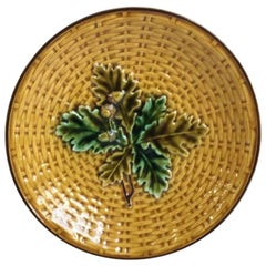 Majolica Acorn and Oak Leaves Plate Villeroy & Boch Plate, circa 1890