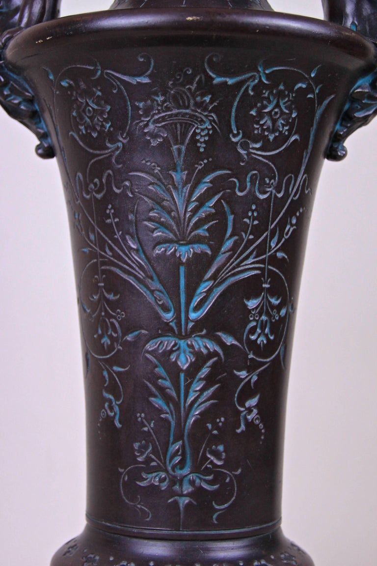Large, one of a kind Art Nouveau Majolica vase made by the famous majolica/ ceramic manufactory of Bernhard Bloch in Bohemia around 1890. This unique shaped majolica vase is adorned by two lovely