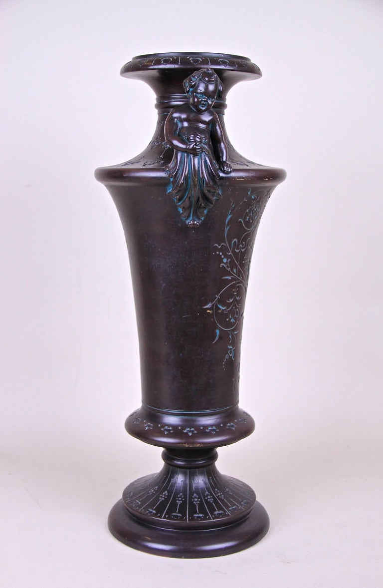 19th Century Majolica Amphora Vase with Putties by B. Bloch, Bohemia, circa 1890 For Sale