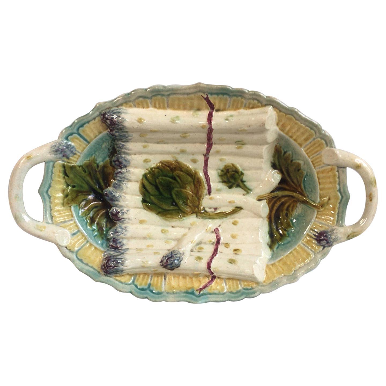 Majolica Asparagus and Artichoke Server Platter Salins, circa 1890