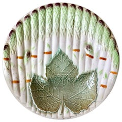 Majolica Asparagus Plate with Leaf Saint Amand, circa 1930