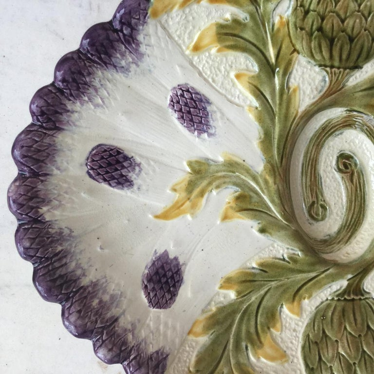 French Majolica Asparagus Platter Orchies, circa 1880 For Sale