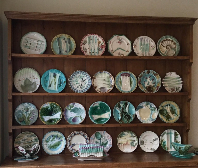 Ceramic Majolica Asparagus Platter Orchies, circa 1880 For Sale
