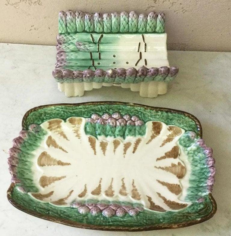 French Provincial Majolica Asparagus Server Longchamp, circa 1890 For Sale