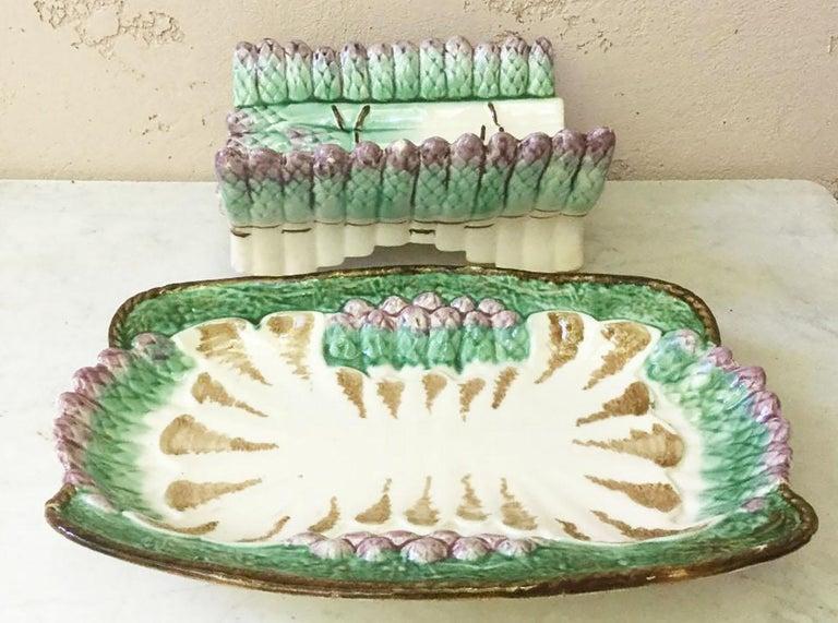 French Majolica Asparagus Server Longchamp, circa 1890 For Sale