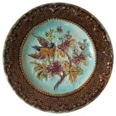 Majolica Bird & Pink Flowers Plate, circa 1880