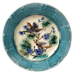Majolica Bird Plate Onnaing, circa 1890