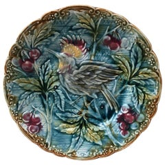 Majolica Bird with Cherries Plate Wasmuel, circa 1890
