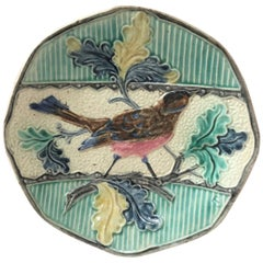 Majolica Bird with Oak Leaves Plate, circa 1880
