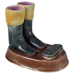 Majolica Boots & Brush Match Holder