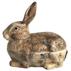 Majolica Brown Rabbit Tureen Caugant