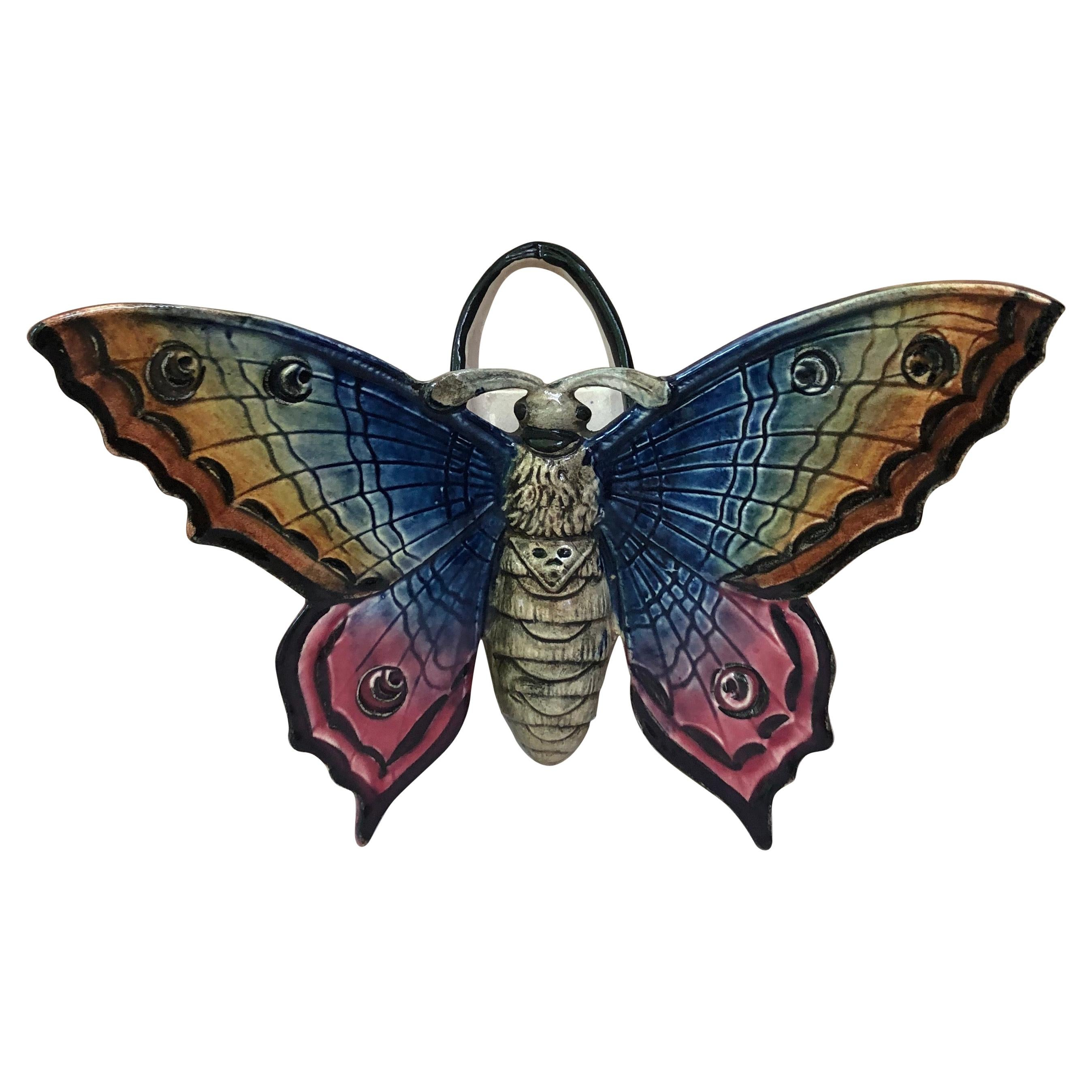 Majolica Butterfly Wall Pocket Fives Lille, circa 1900