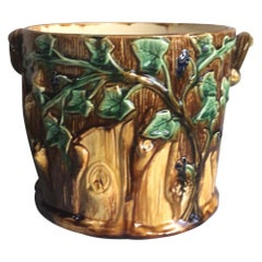 Majolica Cache Pot with Leaves & Branches, Circa 1890